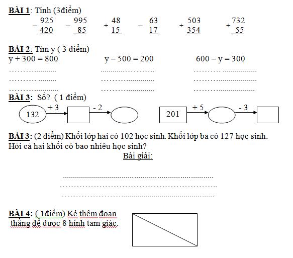 Bé học toán lớp 2 cần xếp phép tính đứng thẳng hàng