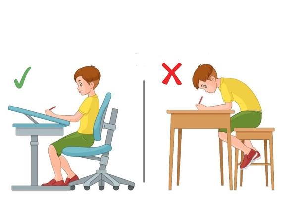 Phụ huynh cần rèn thói quen cho trẻ ngồi viết đúng tư thế để bảo vệ cột sống và thị lực của bé
