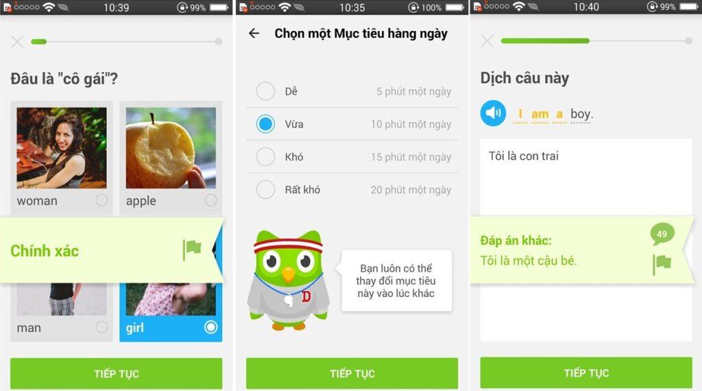 Phần mềm học tiếng anh trên điện thoại Duolingo khá nổi tiếng và phổ biến