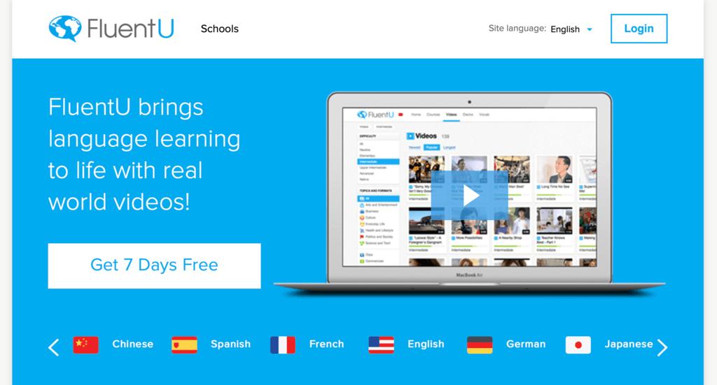 Giao diện phần mềm học tiếng anh FluentU
