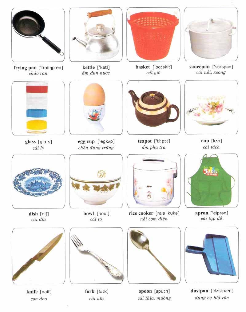 Gọi tên các vật dụng quen thuộc bằng tiếng Anh giúp bé có thêm vốn từ vựng