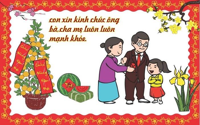 Bài thơ chúc tết ông bà, cha mẹ dễ nhớ cho bé