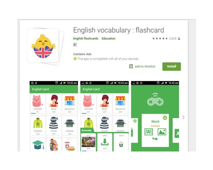 phần mềm tiếng anh english flashcard