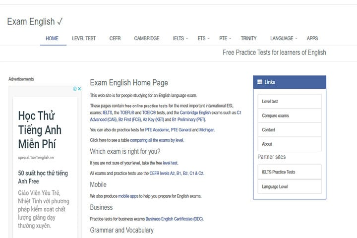 website hoc tieng anh exam english