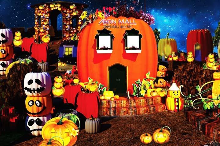 dẫn bé chơi halloween aeonmall hà nội