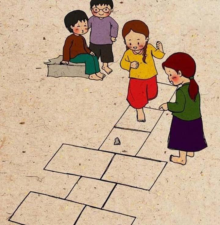trò chơi tuổi thơ nhảy lò cò