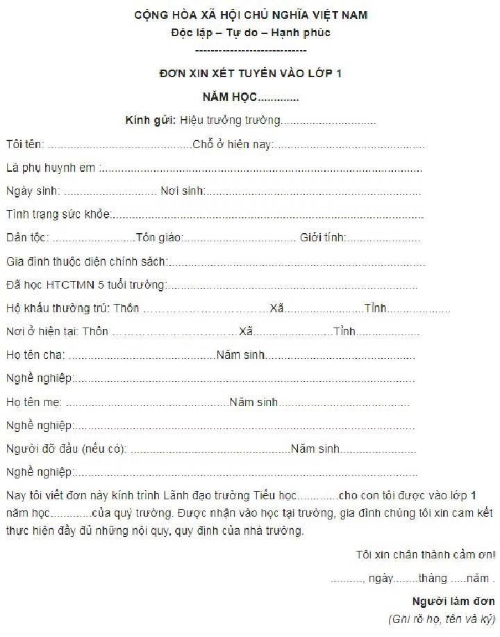 đơn xin xét tuyển vào lớp 1 số 01