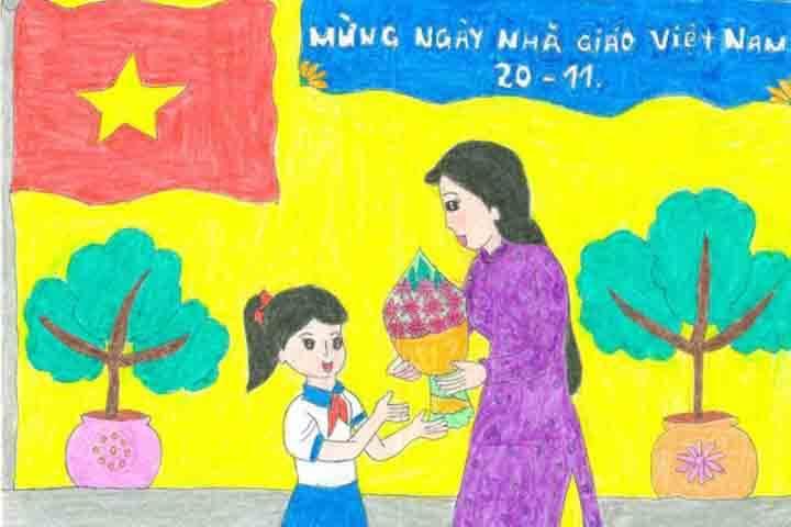tranh vẽ 20 - 11 bó hoa tặng cô