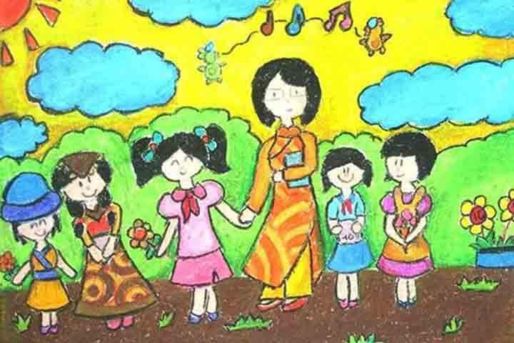 tranh vẽ 20 - 11 cô giáo em