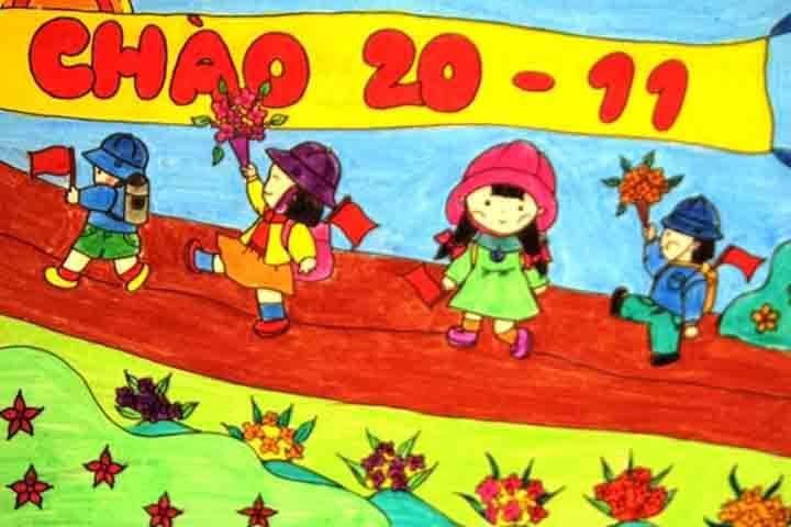tranh vẽ 20 - 11 em đến trường