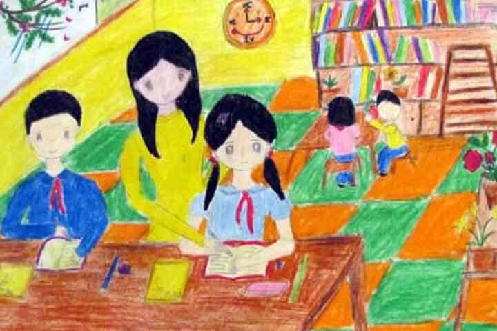 tranh vẽ 20 - 11 giờ học văn