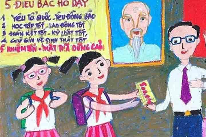 tranh vẽ 20 -11 thầy giáo em