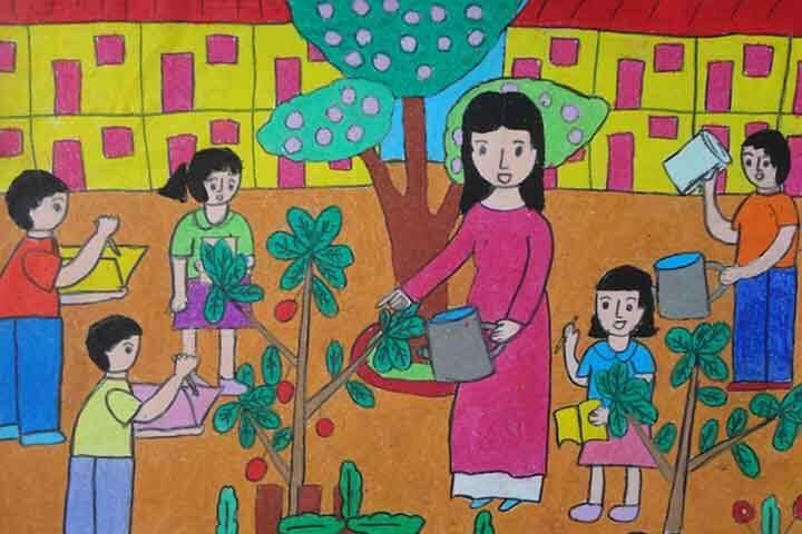 tranh vẽ 20 -11 trồng cây