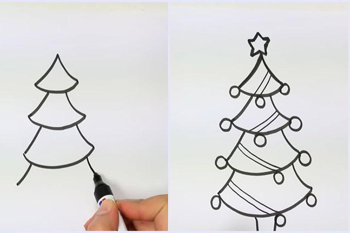 cách vẽ cây thông đơn giản