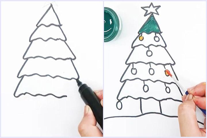 cách vẽ cây thông tam giác