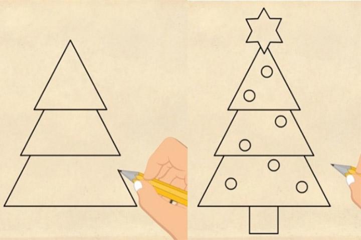 cách vẽ cây thông toán hình học